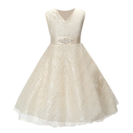 Red White Blue Tutus UK - Girls party wear clothing for children summer sleeveless lace princess wedding dress girls teenage well party prom dress