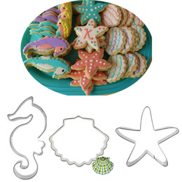 China 3pcs sea horse Shell metal cutter fondant cutter biscuit mold starfish bakeware tool bread fruit mold suppliers