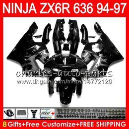 94 Kawasaki Fairing Kits Canada - 8Gifts 23Colors For KAWASAKI NINJA ZX636 ZX6R 94 95 96 97 ZX-6R ZX-636 black grey 33HM15 600CC ZX 636 ZX 6R 1994 1995 1996 1997 Fairing kit