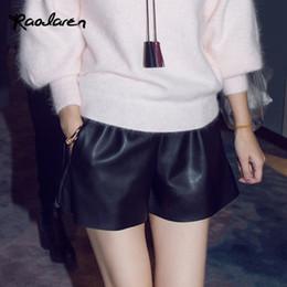 $enCountryForm.capitalKeyWord NZ - Women Summer Elastic Waist PU leather Black Shorts Female Celebrity same Loose Fashion Casual Shorts