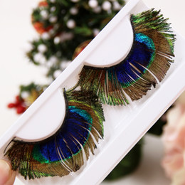 Wholesale YM11 Natural Peacock Feather Exaggerated False Eyelashes Latin Tableaux Art Makeup Fake Eyelashes Fashion COLORFUL Eye Lashes