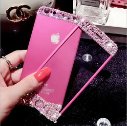 $enCountryForm.capitalKeyWord UK - 2pc set Tempered Glass Film With Embed Rhinestone Ornament Front And Back Full Cover Metal Colored Tempered Glass Film For Iphone 6S 6S+