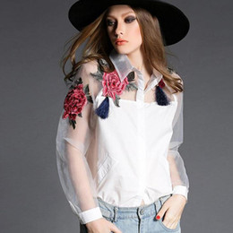 Wholesale NEW WOMEN TURN DOWN COLLAR EURO FASHION EMBORIDERY FLOWERS ORGANZA COTTON WOMEN S BLOUSE LADY ELEGANT CASUAL SHIRT BLOUSE
