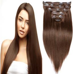 Human Hair Clip Dhl NZ - Top Quality Brown Color 4# Clip In Human Hair Extesnison 70g 100g 120g 16''-26'' Virgin Silk straight wave hair, Free DHL