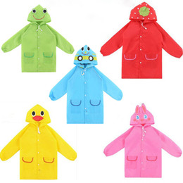 Barato Impermeáveis ​​para Bebês-Moda Cartoon Animal Baby Raincoat Hot Sales Spring Autumn Hoodie Raincoat dos desenhos animados Cute Boys and Girls Rainwear