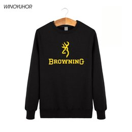 Barato Hoodies De Pulôver Gráfico Para Homens-Atacado- Browning Firearms Logo Graphic Printed Hoodies Winter Casual Crewneck Sweatshirts Sporting Man Leisure Pullover Tops