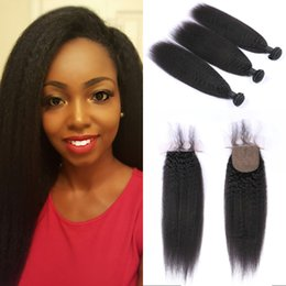 $enCountryForm.capitalKeyWord NZ - Kinky Straight 3 Bundles with Closure High Quality Brazilian Human Hair Silk Base Closure with Bundles FDSHINE