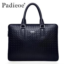 Discount men leather tote bags - Wholesale- Padieoe Men's Briefcase Famous Brand Tote Bag Leather Messenger Bag Business Men Handbags Fashion Should