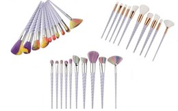 threading tools set NZ - Rainbrow Makeup Brushes Set 10pcs set Spiral Shell Colorful Brushes Professional Powder Tool Thread Cosmetic Brush Kit 3 colors UPS ship