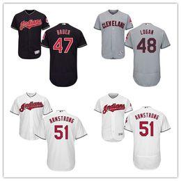 ce9e575c18a ... Mens Cleveland Indians 47 Trevor Bauer 48 Boone Logan 51 Shawn  Armstrong Coolbase Flexbase Baseball Jersey ...