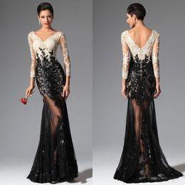 Discount blue white dress shirt - Black White Mermaid Long Sleeves Lace Evening Dresses 2016 Elie Saab V Neck Sheer Illusion Sequined Celebrity Prom Dress
