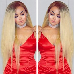 $enCountryForm.capitalKeyWord Australia - High quality 20inch silky straight two tone blonde hair mongolian ombre full lace wig free shipping