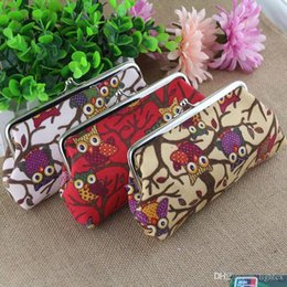 Discount ladies purse bag phone case - Newest Long Purse Owl Pattern Ladies canvas print coin purse key wallet phone case canvas bag Coin keychain keys wallet