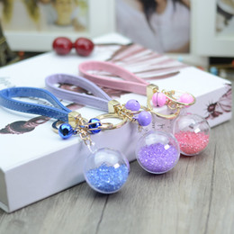 Lucite Ball Canada - Korean flowers immortalized Keychain creative cartoon bag lady crystal ball key chain bell car accessories