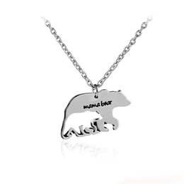 Chinese  2017 mother's necklace gift mama bear baby bear alloy hollow pendant necklace fashion creative jewelry cute charm animal lovers gift manufacturers