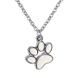 wholesale dog lover gifts NZ - 12pcs lot dog's paw fashion pendant necklace cute Animal footprints necklace for Dog lovers Jewelry gift