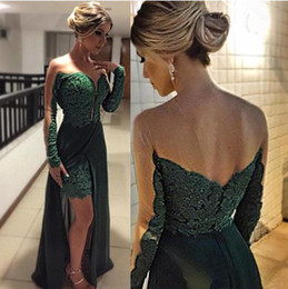 Chandail En Mousseline De Soie Vert Foncé Pas Cher-.Fashion Dark Green Long Sleeves Mermaid Prom Robes Sheer Sweetheart Dentelle Appliqué avec Split Chiffon Skirt Robes de soirée formelle