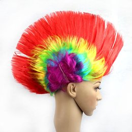 Wholesale Creative Masquerade Periwig Christmas Cosplay Punk Cockscomb Shape Hairpiece Colorful Wig Styling Accessory Bar Party Supplies jh C R