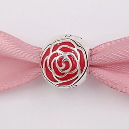 EnchantEd rosEs online shopping - Authentic Sterling Silver Beads Disny Belle S Enchanted Rose Charm Fits European Pandora Style Jewelry Bracelets Necklace EN09