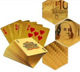 Hot Gold Foil Carte da gioco placcato Carte da gioco Poker in plastica Dollaro US / Stile Euro / Stile normale 3 Disegni in Offerta