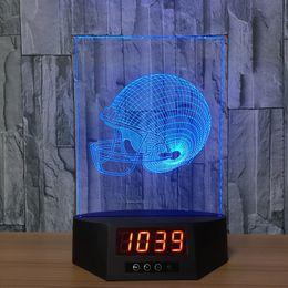 $enCountryForm.capitalKeyWord NZ - Helmet 3D Illusion Clock Lamp Night Light RGB Lights USB Powered 5th Battery IR Remote Dropshipping Retail Box
