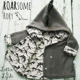 Boys Dinosaur Jacket Australia - Kids cute dinosaur jacket Infant INS fleece hooded for 1-3T Baby animal print casual coat for boys girls