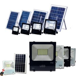Remote contRolled outdooR lights online shopping - High Quality W W W W Solar Powered Panel Led Remote control Flood Lights outdoor floodlight Garden outdoor Street light