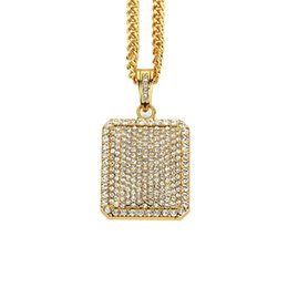 "alloy w UK - Mens Pendant Necklaces Crude Chain Full Rhinestone Design Jewelry w 23"" Chain Filling Pieces Men Golden Fashion Hip Hop Necklace"