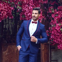 Beige Slim Suits For Men Australia - Classy Royal Blue Wedding Tuxedos Slim Fit Suits For Men Cheap One Button Groom Suit Two Pieces Prom Suit With Bow Tie