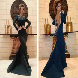 Noir Arabe Pas Cher-Myriam Fares Arab 2017 Long Sleeves Evening Party Gowns Backless Beaded Mermaid Black Formal Evening Occasion Robes