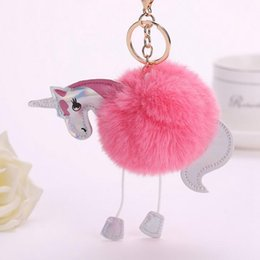 cute fur animal keychain Canada - 15CM Lovely Fluffy Unicorn Pony Keychain Pendant Girls Cute Pompom Artificial Rabbit Fur Key Chain Bag Car Key Ring Hang Bag Accessories