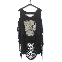 Drapeau Du Crâne T Shirt Pas Cher-Printed Women Tanks New Fashion Cotton O-Neck sans manches Loose Women Tank Tops Tassel Hollow Out Skull Tiger Flag Printing T-shirt