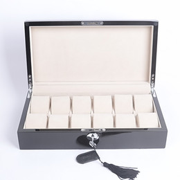 Glass Black Display Cases Canada - Free Shipping Wholesale Wood 12-Grid Glass Watch Box Large Mens Womens Black Display Glass Top Jewelry Case Organizer Storage Box
