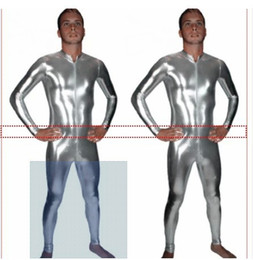 Les Hommes Sexy Humides Pas Cher-Vente en gros- Hot Sexy Men Women Silver Black Faux Leather Catsuit Fetish Costume Front to Crotch Zipper Wet Look Costume SIZE S-XXL