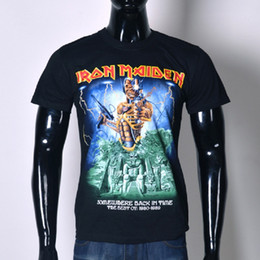 Barato Roupa De Solteira-Halloween Fashion streetwear Iron Maiden Death Skeleton camiseta masculina dos homens preto Skull short sleeve clothing t shirt o neck Tops BMTX31 F