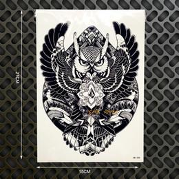 Car Body Art Canada - Wholesale- New Hot Wise Owl Tattoo Body Art Sleeve Arm Flash Tattoo Sticker 398 Big Size 21*15cm Waterproof Henna Tatoo Wall Car Styling