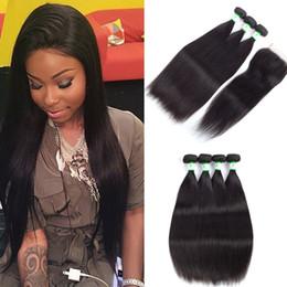 Human Hair Pc Closure NZ - Straight Peruvian Virgin Hair Lace Top Closure With 3 4 pcs Hair Bundles Unprocessed Human Hair Extension Swiss Lace Closure No Tangle