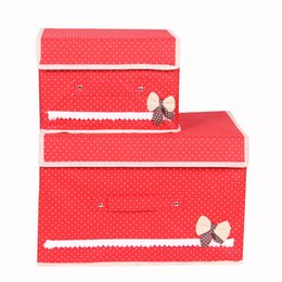 $enCountryForm.capitalKeyWord UK - Cotton And Liene Storage Box With Cap 2 Size Clothes Socks Toy Snacks Sundries Non-woven fabrics Organizer Box Set Clothing Folding Storage