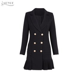 Wholesale skirt trench coat resale online - Adyce New Women Formal Double Breasted Trench Black Glod Button Full Sleeve Skirt Style Pleated Long Style Women Coat