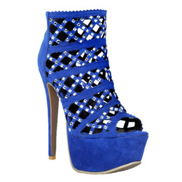 bbb91722be7 Kolnoo Womens Platform High Heels Sparkly Diamante Ankle Court Pumps Peep-toe  Party Sexy Shoes Blue XD277