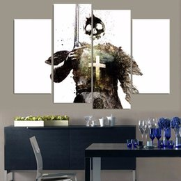 skull figures Canada - 4 Pieces Canvas Painting Abstract Skull Soldier Modern Printed Paintings on Canvas Wall Art for Home Decorations Wall Decor