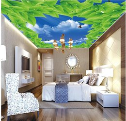 3 photos sky ceiling murals canada beautiful blue sky white cloud green leaf ceiling zenith mural wallpaper