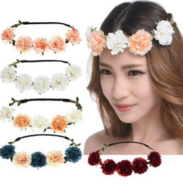 Hair Halo Wholesale NZ - Beach Wedding Bohemian Stretch Wreath Halo Lily Flower Crown For Wedding Festivals Bridal Hair Accessories Bridal Head Pieces