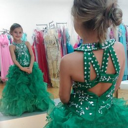 Barato Vestido Verde Molhado De Lantejoulas-2017 Green Girls Menor Cupcake Vestidos Sequins Beaded Puffy Skirt Toddler Girls Vestidos de baile para Little Kids Prom
