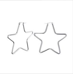 $enCountryForm.capitalKeyWord Canada - Fashion Large Star Hoop Earrings For Women Girl Stainless Steel Ear Jewelry Punk Rock H-092