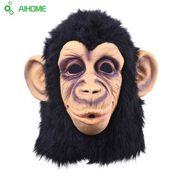 Chinese  Wholesale-Super Lovely Monkey Head Latex Mask Full Face Adult Mask Halloween Masquerade Fancy Dress Party Cosplay Costume Cute Animal Mask manufacturers