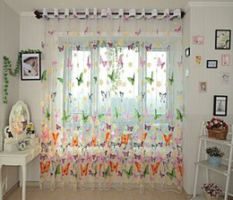 $enCountryForm.capitalKeyWord Canada - Butterfly yarn rustic romantic tulle curtain window screening customize finished products balcony sheer curtains girl bedroom