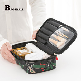 portable cosmetic bag Canada - Wholesale- BAGSMALL Portable Travel Kit Waterproof Polyster Toiletry Bags Printing Women Cosmetic Bag Small Makeup Packing Organization
