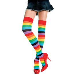 Discount thigh high stocks - Wholesale- Girl Lovely Polyester OVER THE KNEE SOCKS Rainbow Colorful High Thigh for Ladies Women gifts Long Sock Stripe