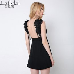 Ailes Robe Épaule Pas Cher-Lztlylzt Women 2016 Summer Sexy Slip Dress Backless Off épaule Lace Angel wings Mini Short A-line Dress Ladies Beach dresses q170697
